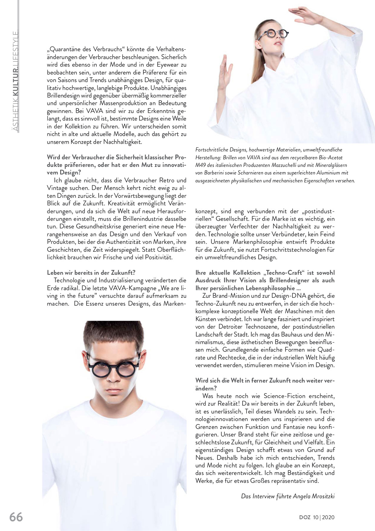 vava eyewear at DOZ magazine
